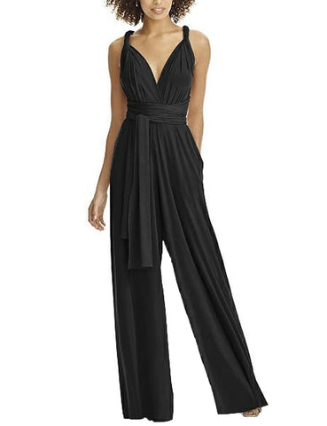 Young Lady V-Neck Wide Leg Multi-Way Jumpsuit High Waist For Outdoor