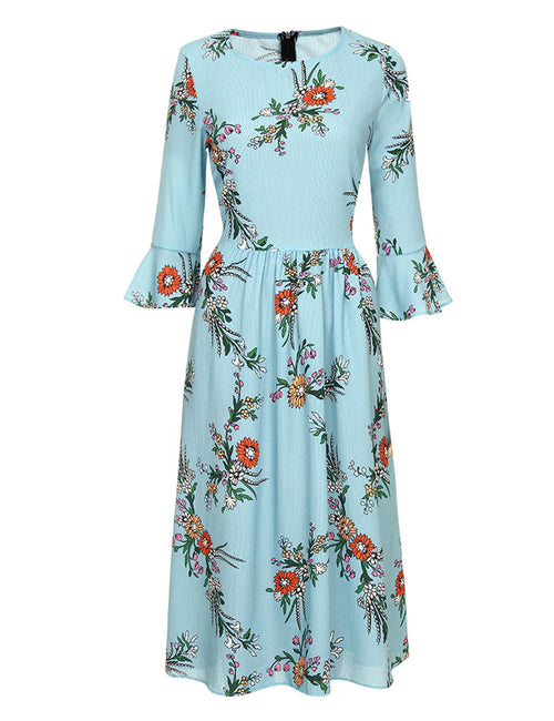 Zealous Floral Print Midi Dress 3/4 Sleeve Comfort Fabric