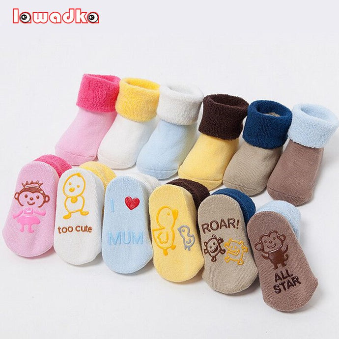 New Born Cartoon Thick Winter Soft  Baby Terry Socks