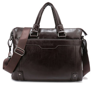 VORMOR Brand Elegance Business Men Briefcase Bag,  PU Leather 14 inch Laptop Men Bag, Casual Man Shoulder Bags maleta