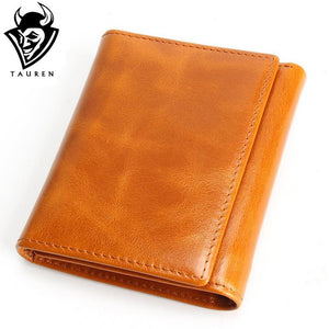Leather Wallet Oil Wax Cowhide, Coins and Card Holder