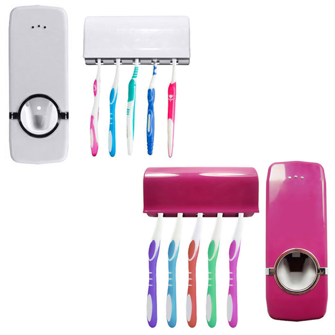 Tidy &  home decro Bathroom Accessories Wall Mount Rack Automatic Toothpaste Dispenser 5 Toothbrush Holder salle de bain