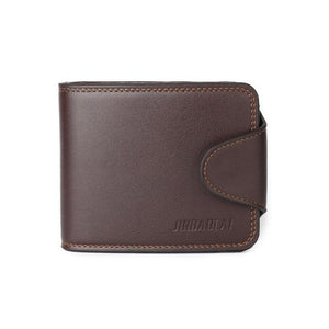 JINBAOLAI Men Mini Leather Wallets Business Credit Card ID Coin Holder Money Clip Mens Wallet #4M