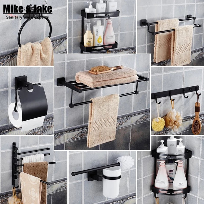 Stainless steel 304 bathroom shelf kit bathroom black paper holder towel shelf ring holder robe hooks black bathroom accessory