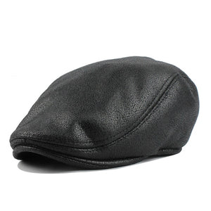 [FLB] PU Visors Beret Cap Cotton Hats for Men and Women Fitted Driving Newsboy hat Planas Flat Caps Adjustable Berets