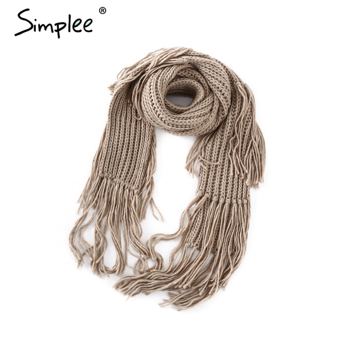 Simplee High quality knitting warm women scarf Fashion tassels long scarf female 2017 elegant winter acrylic scarf