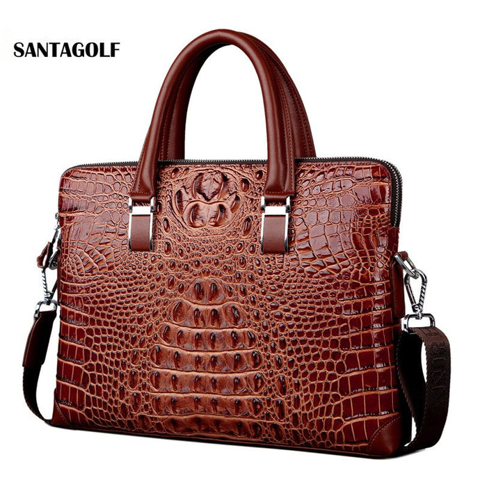 Real Cow Leather men's briefcase Luxury Crocodile pattern cowhide leather briefcase male shoulder bag commercial business bags