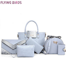 Flying birds 6 pcs women bags leather handbags tote messenger shoulder bags ladies cluth female purse pouch card money bag a4410
