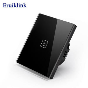 Eruiklink EU/UK Standard Touch Switch,Crystal Glass Panel Black Fireproof Wall Light Switch 1/2/3 Gang 1 Way for Smart Home