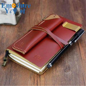 Free Shipping Handmade Vintage Leather Diary Notebook Sketchbook Travel Journal Blank Writing Paper Portable Notepad N114
