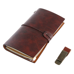 Retro Vintage Notebook Journal Diary Leather Pocket Notepad with Clips and Carton