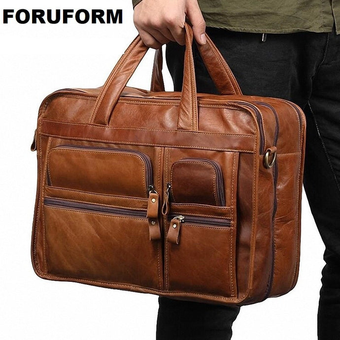 Men Leather Briefcase Laptop Bag Male Genuine Leather Bag Men Briefcase Handbags Multifunction Men's Travel Shoulder Bag LI-2150
