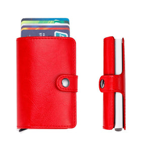 Secure Anti-theft Slim Fiber Clip Wallet RFID EDC Card Holder-Men Leather Wallet