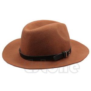 Fashion Design Women Eaves Belt Woolen Cap Warm Winter Wool Belt Fedora Cap Wide Brim Cowboy Hat New