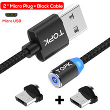 TOPK R-Line2 LED Indicator Magnetic Micro USB Cable, Upgraded Nylon Braided Magnet Microusb Charging Cable for Micro USB Port