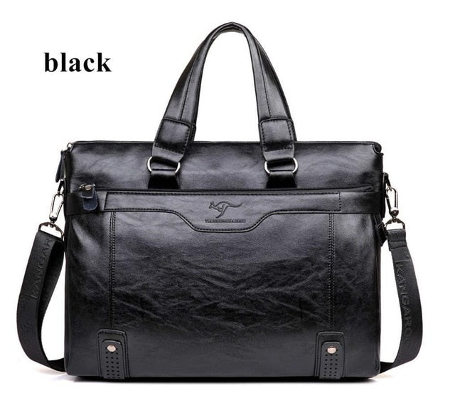 Men Business Leather Briefcase Shoulder Messenger Bag for 14