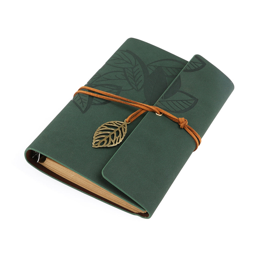 TINKSKY Vintage Style Leaf Leaves Pattern PU Cover Loose-leaf String Bound Blank Notebook Notepad Travel Journal Diary Jotter - Size L (Green)
