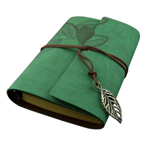 Vintage Style Leaf Leaves Pattern PU Cover Loose-leaf String Bound Blank Notebook Notepad