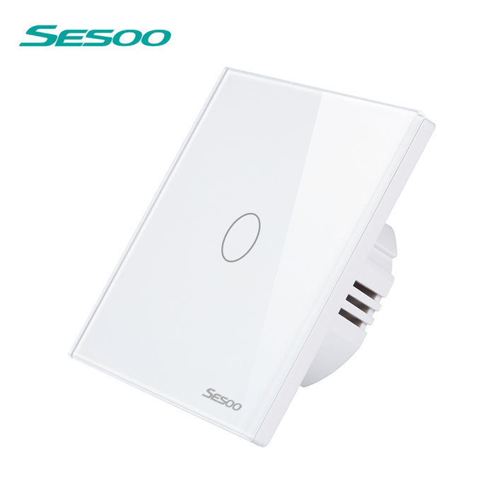 SESOO Touch Wall Switch 1/2/3 Gang LED Indicator Smart Home RF433 Wireless Remote Control Light Switch Crystal Glass Panel