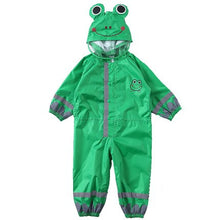 Kocotree 3-9 Years Old Children Cartoon Frog Rainwear Waterproof Hooded RainCoat Outwear Camp Poncho Kids Rain Jumpsuit