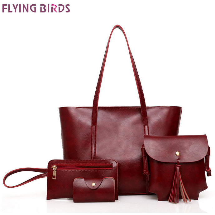 FLYING BIRDS Bags for Women 2018 Handbag Women Bag PU 4-Piece Tassels Purses and Handbags Shoulder Bag Lady Messenger Bags A9213