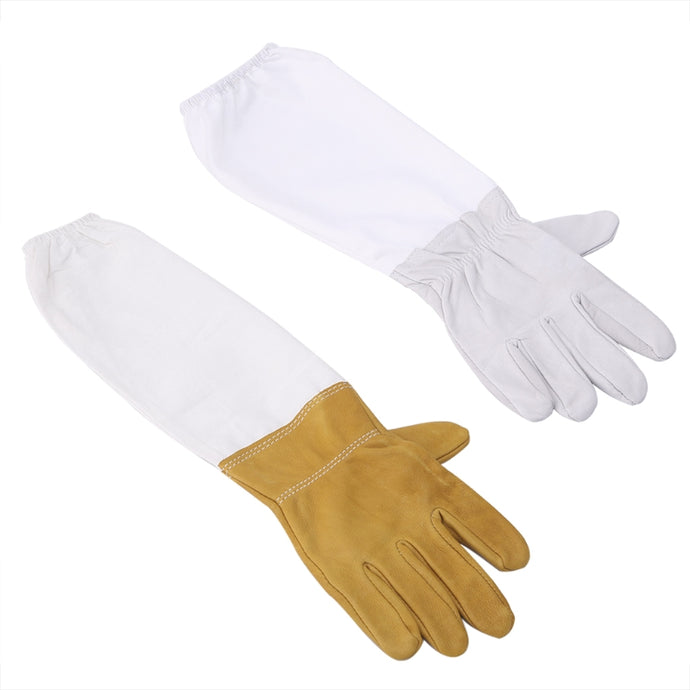 New 1 Pair Beekeeping Protective Gloves With Vented Long Sleeves Faux Goatskin Tools Retail/Wholesale