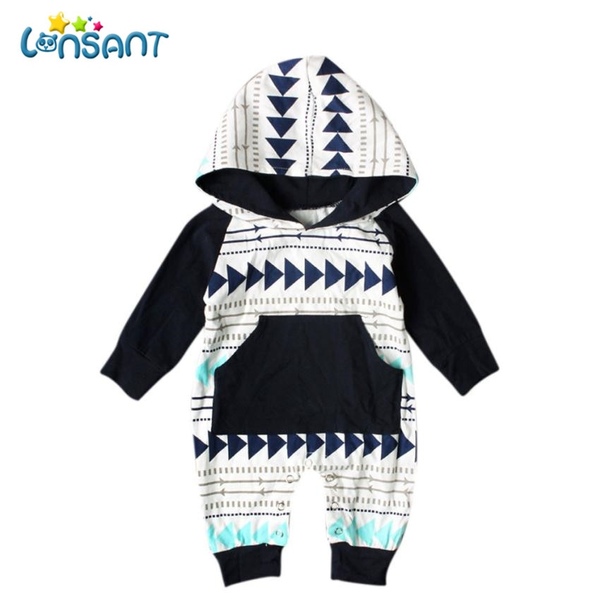 LONSANT Baby Rompers New Born Baby Clothes Jumpsuit Long Sleeve Print Hooded Children Clothes Conjunto Menino