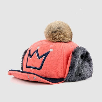 Winter Hats For Kids Baseball Cap Crown Cotton Baby Korean Hat With Pom Pom Boys Girls Warm Earflaps Stylish Children Thick Caps