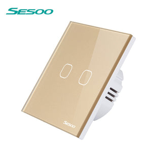SESOO Touch Light Switch 2 Gang Can't Remote Control Wall Light Touch Switches Waterproof Glass Panel Capacitive Touch Switch