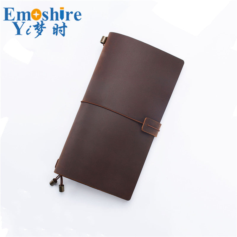 Leather Notebook Top Layer Cowhide Retro Travel Notebook Manual Loose-leaf Notebook Customization for Business Gift Notepad N142
