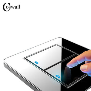 Manufacturer Coswall Brand 2 Gang 1 Way Random Click Push Button Wall Light Switch With LED Indicator Acrylic Crystal Panel