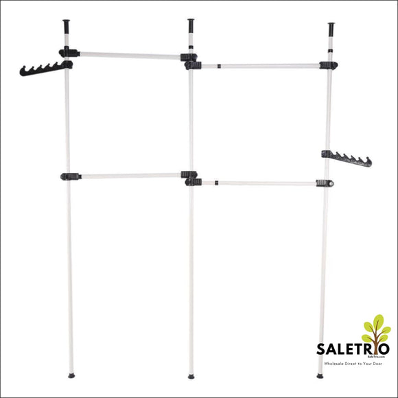4 Poles Adjustable Home Clothes Rack - Home & Garden - Free Shipping