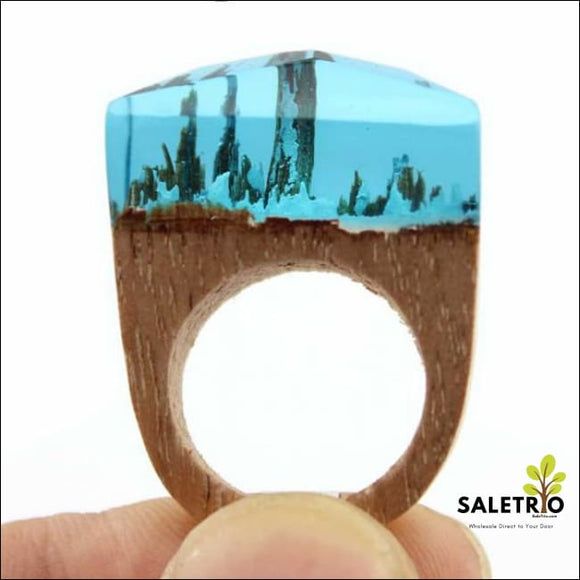 Aqua Snow Wood Ring - Jewelry & Watches - Free Shipping
