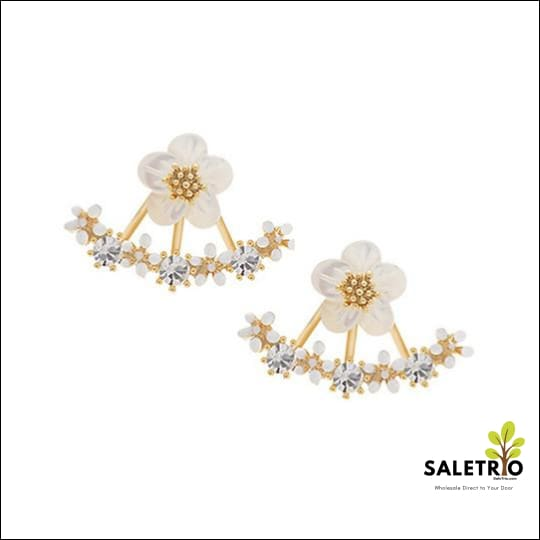 Flower Crystal Stud Earrings - Jewelry & Watches - Free Shipping