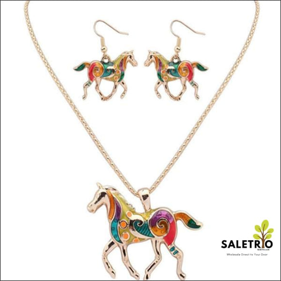 Horse Hippie Pendant Set - Gold - Jewelry & Watches - Free Shipping