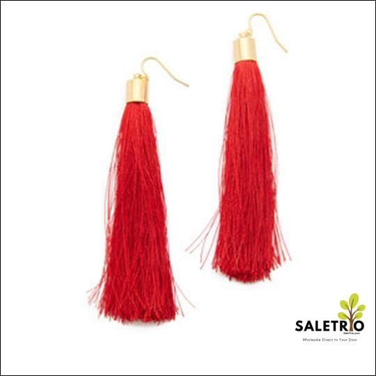 Long Fib Tassel Earring - Candy Red - Jewelry & Watches - Free Shipping