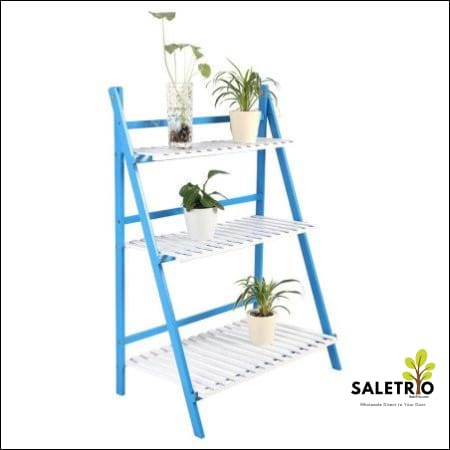 Multi Layer Flower Pot Stand Shelf Potted Stand *bamboo* - Blue+White - Home & Garden - Free Shipping
