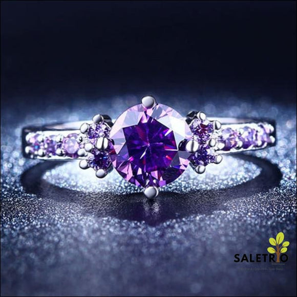 Purple Amethyst Solitaire Ring - Jewelry & Watches - Free Shipping