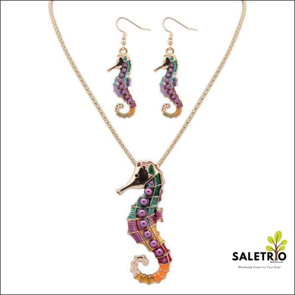 Seahorse Hippie Pendant Set - Gold - Jewelry & Watches - Free Shipping