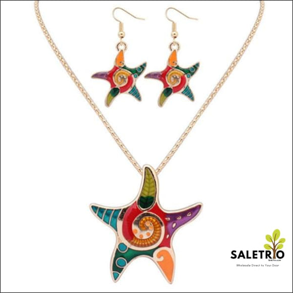 Starfish Hippie Pendant Set - Gold - Jewelry & Watches - Free Shipping