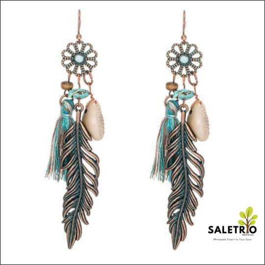 Tassel Fringe Leaf Stones Earrings - Jewelry & Watches - Free Shipping