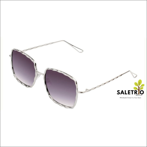 Women Classic Metal Square Flat Lens Oversized Uv Protection Fashion Sunglasses - Gradient Purple/gold - Sunglasses - Free Shipping