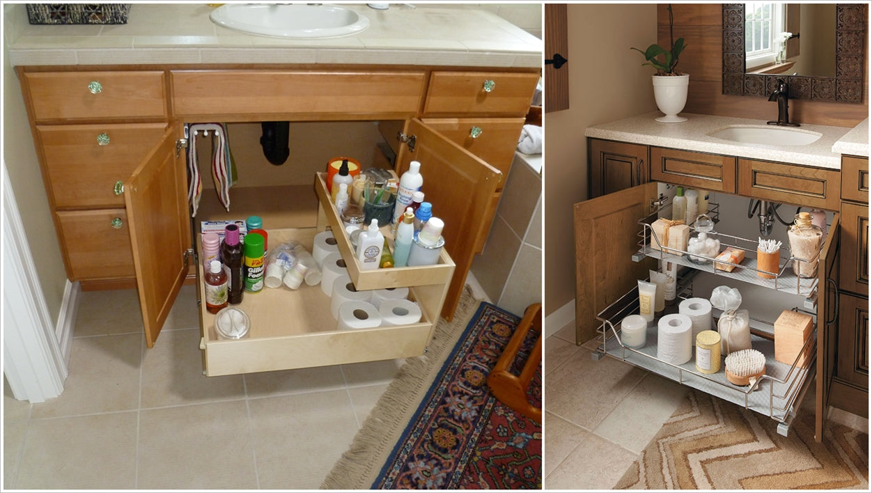 bathroom vanity under the sink racks