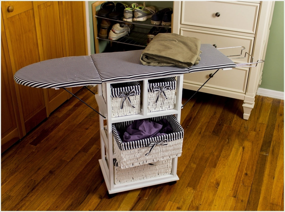 a laundry storage cart topped with an ironing board