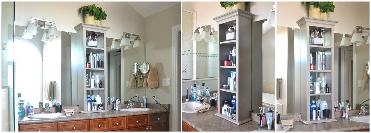 a storage tower over the bathroom vanity counter