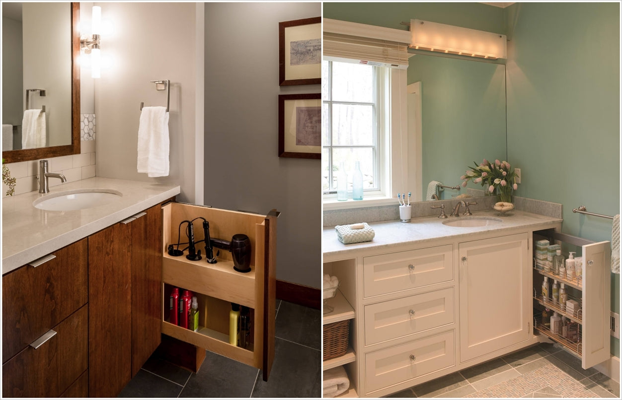 narrow pull-out vanity storage racks