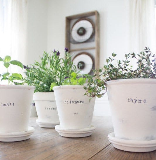 chalk painted planters
