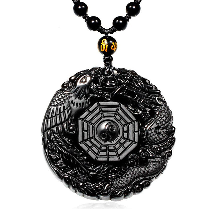 Phoenix/Dragon Black Obsidian Necklace