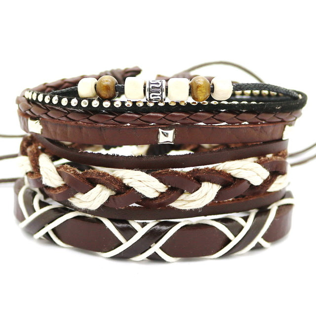 BOHO ROCK VINTAGE STACK LEATHER BRACELET