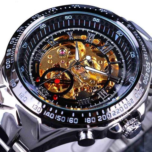 BLACK STEEL SKELETON WATCH - 44MM